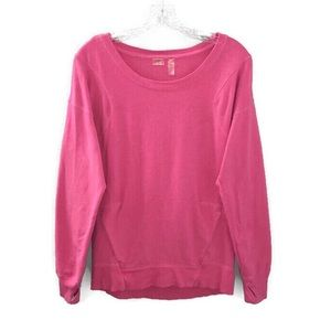 Zella Pink Scoop Neck Long Sleeve Cozy Sweatshirt
